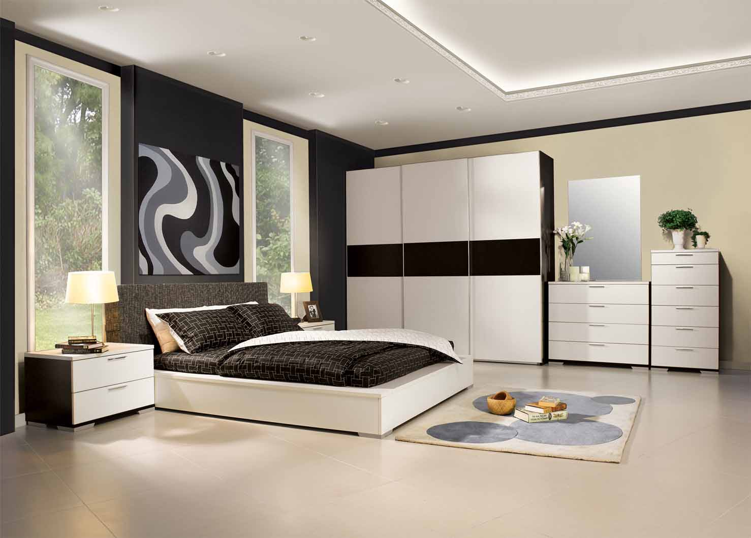 Black And White Small Bedroom Paint Ideas (Image 1 of 10)