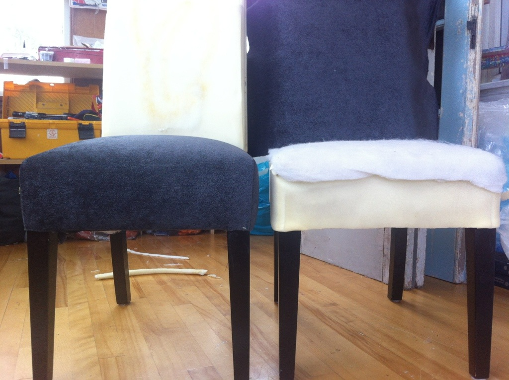 Blue Reupholstering A Chair Progress (Image 2 of 10)