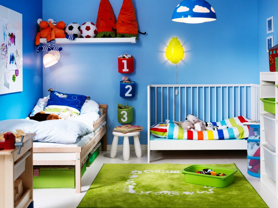 Blue Wall For Kids Room (Image 2 of 10)