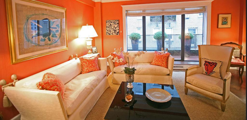 Bright Living Room Energetic Orange Home Decor