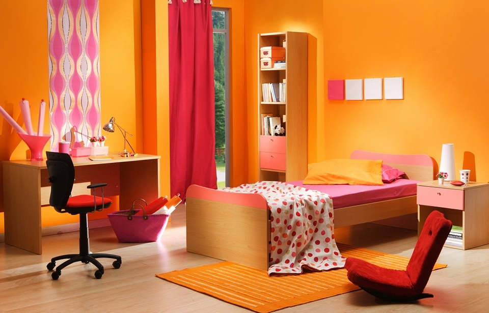 Children Bedroom Energetic Orange Home Decor