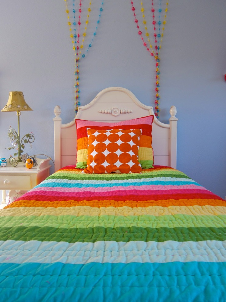 Colorful Bed Decor for Girl Room