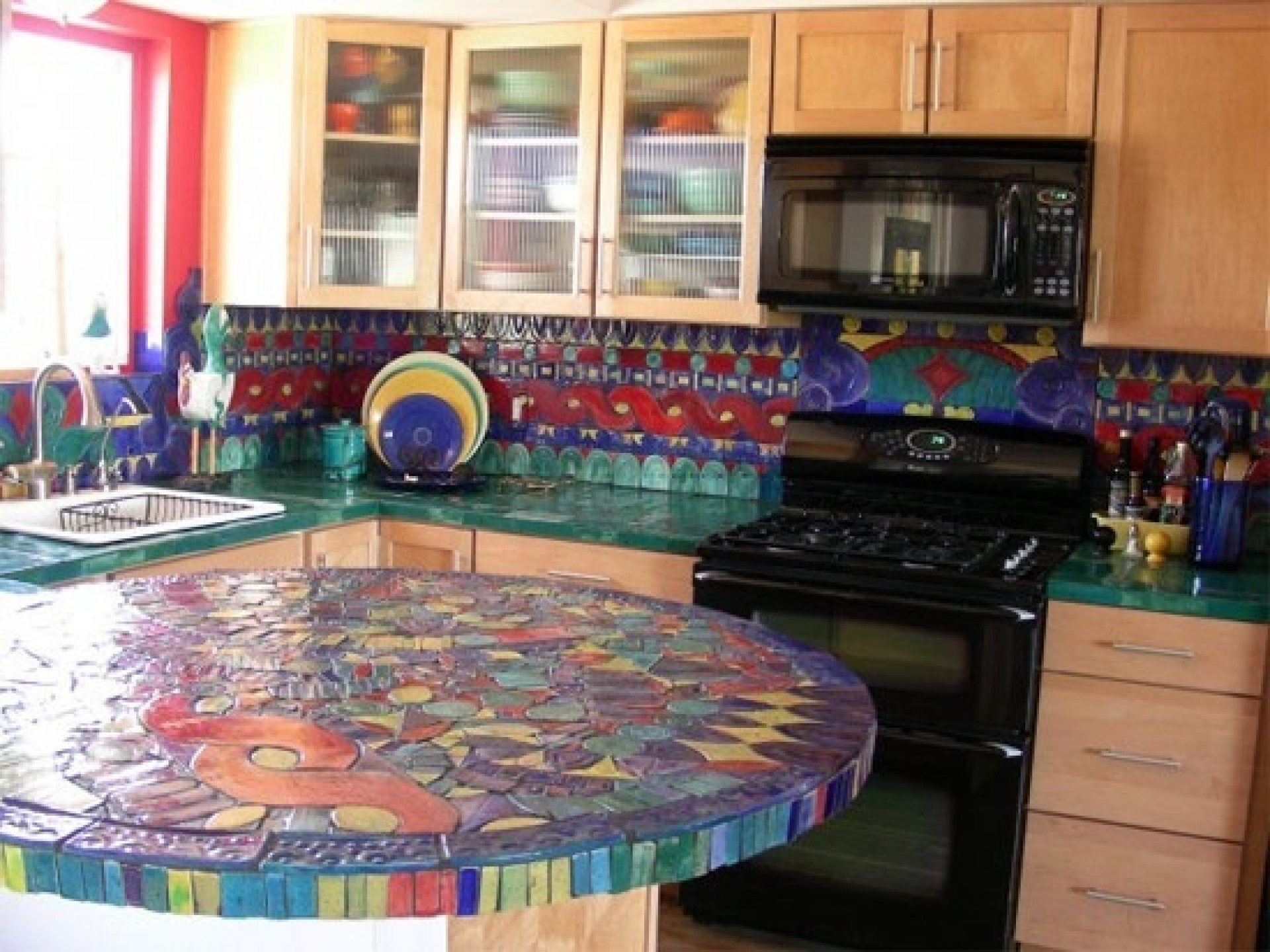 Colourful Tiles On Mosaic Ideas For Kitchen (Image 3 of 10)
