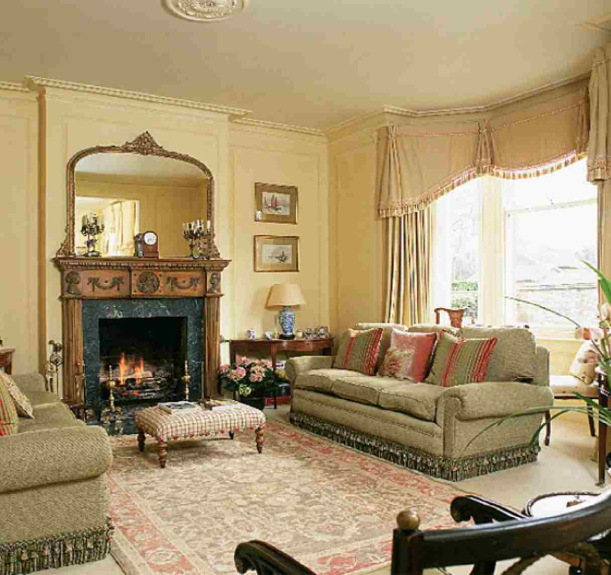 Concept With Beige Sofa Fabric Carved Wooden Fireplace With Mirror Classic Curtains Style (View 4 of 10)