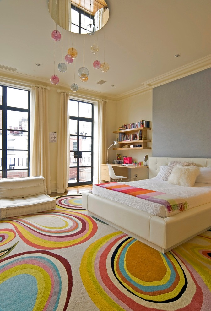 Contemporary Girl Bedroom With Colorful Carpet (View 4 of 10)