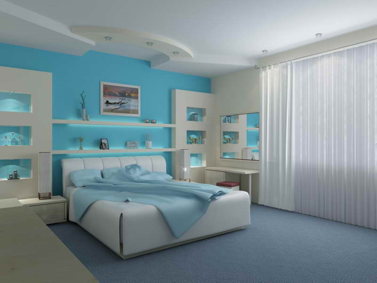 Cool Smooth Bedroom Interior With Ocean Designs (View 3 of 10)