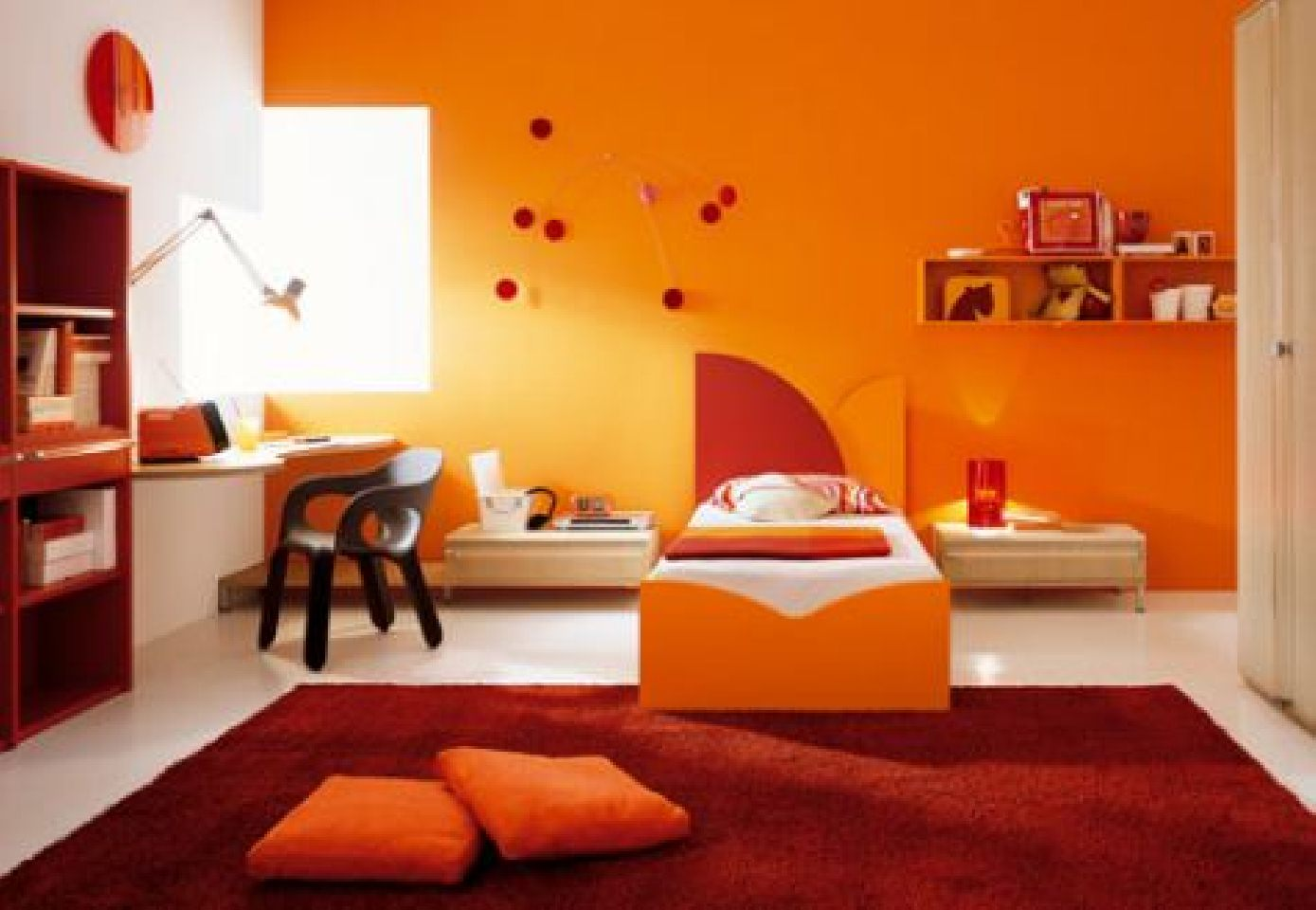 creative bedroom energetic orange home decor image 4 of 10 - Home Decor Furniture