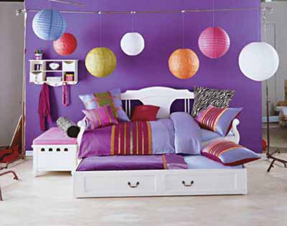 Cute Purple Providing Sanctuary In Teenage Girl Bedroom (View 2 of 10)