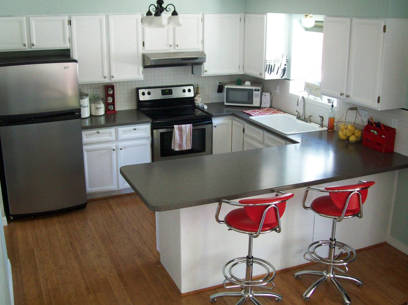 Dark Green And Grey Painting Kitchen Countertops Ideas