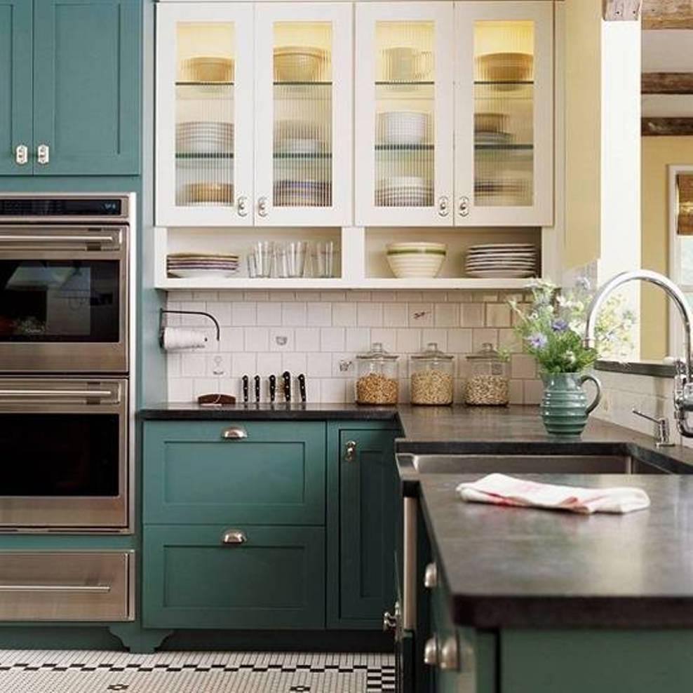 Dark Green Painting Kitchen Cabinets Decoration (Image 1 of 10)