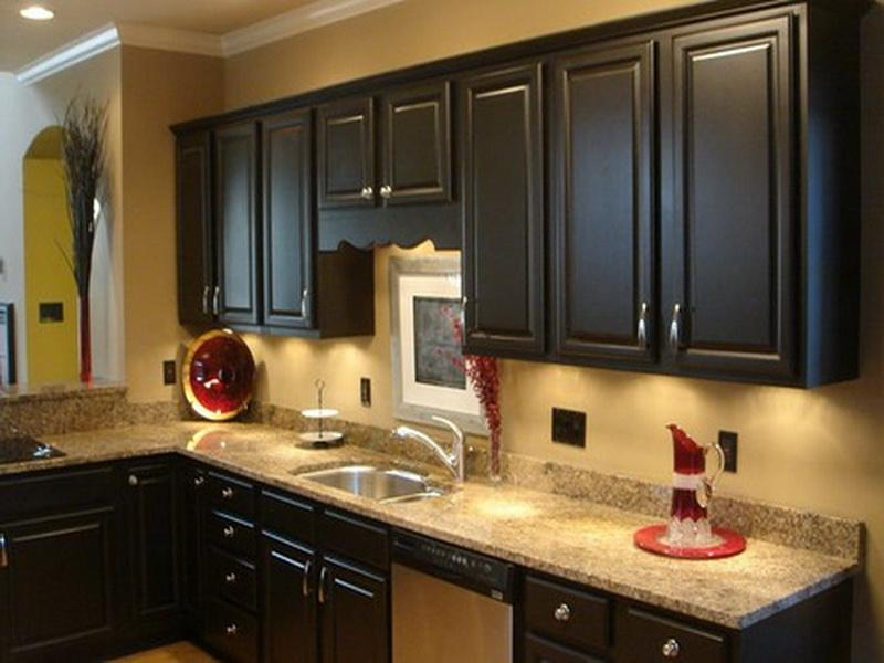 Dark Painting Kitchen Cabinets Decoration (Image 2 of 10)