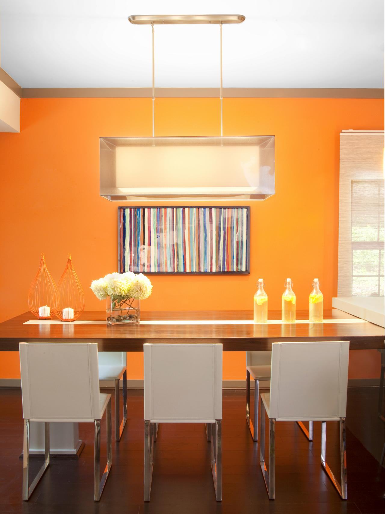 Dinning Room Energetic Orange Home Decor (View 5 of 10)