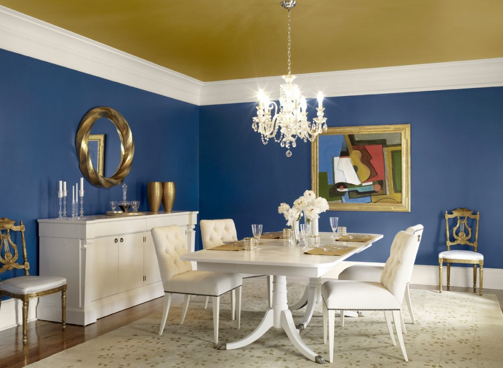 Dining Room Wall With Blue Color Decorations (Image 4 of 10)