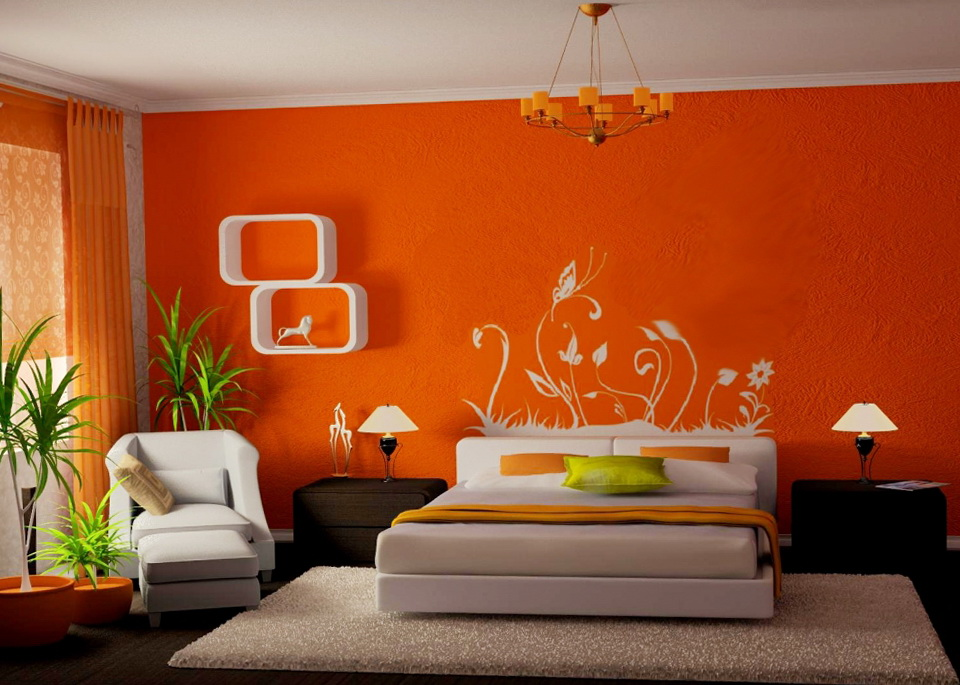 Elegant Bedroom Energetic Orange Home Decor (View 6 of 10)