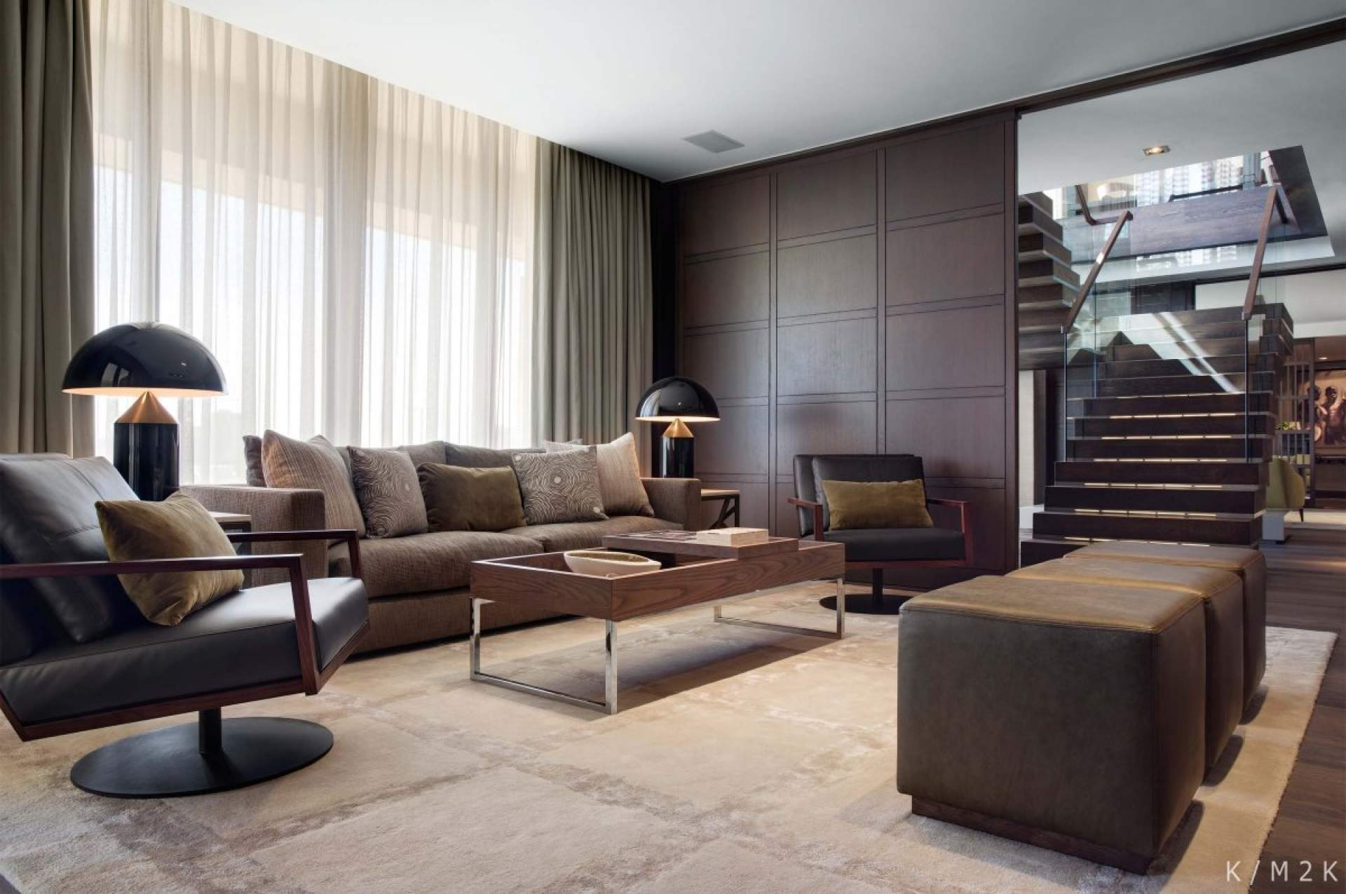 Elegant Brown Minimalist Penthouse Design (View 6 of 10)