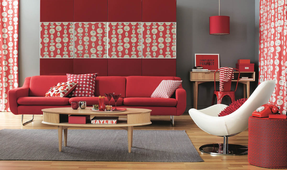 Excellent Living Room Red Color