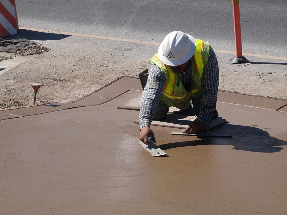 Finishing Concrete in Median Gore Area