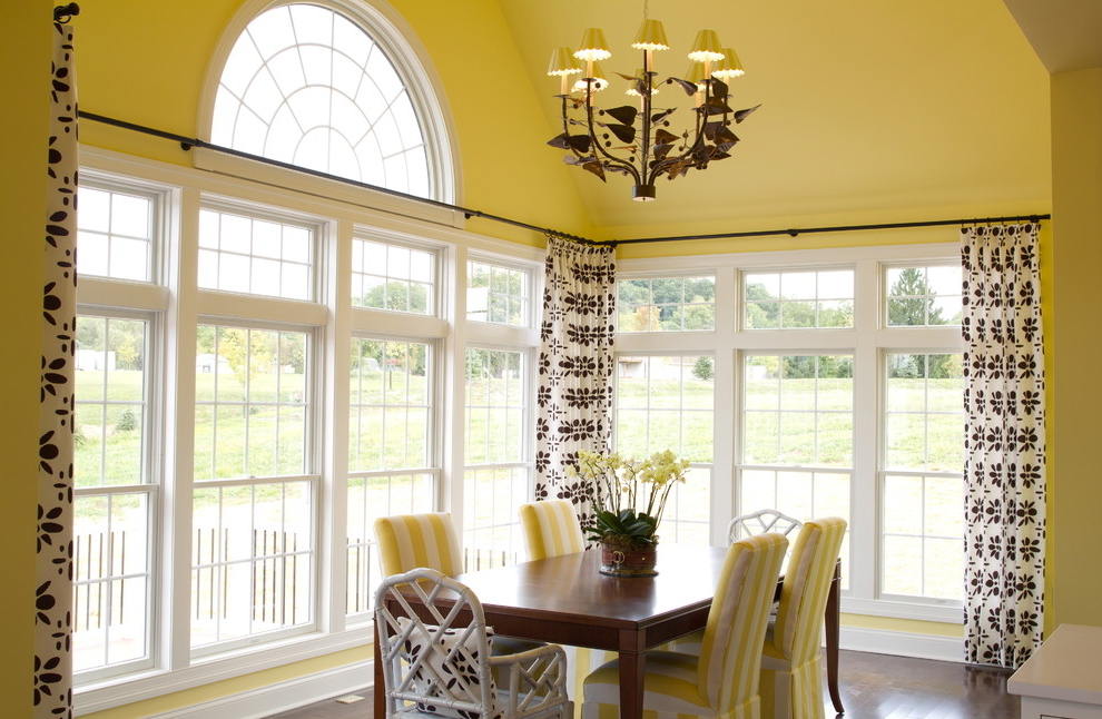 Floral Dining Room Curtains For Triple Windows (Image 2 of 5)
