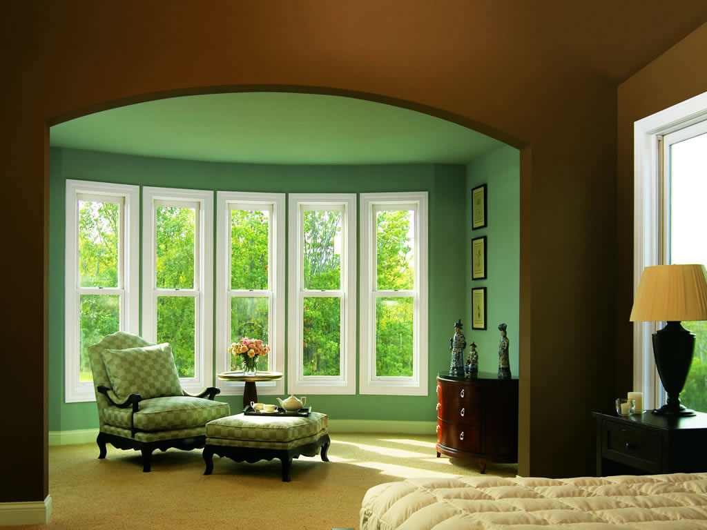 Green Color Single Hung Window