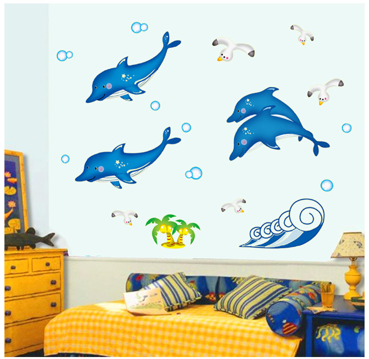 Kids Bedroom Interior Dolphin Stiker With Ocean Designs (View 4 of 10)