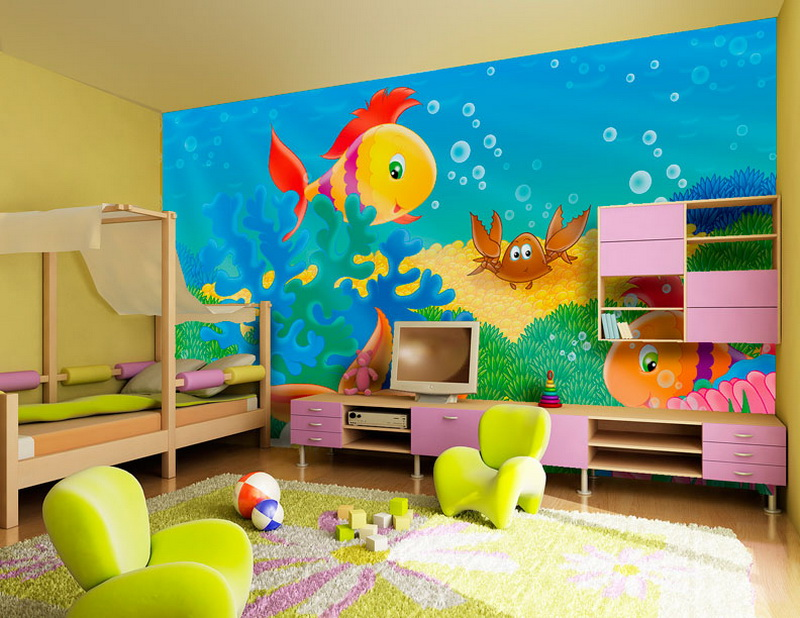 Kids Bedroom Interior With Ocean Designs