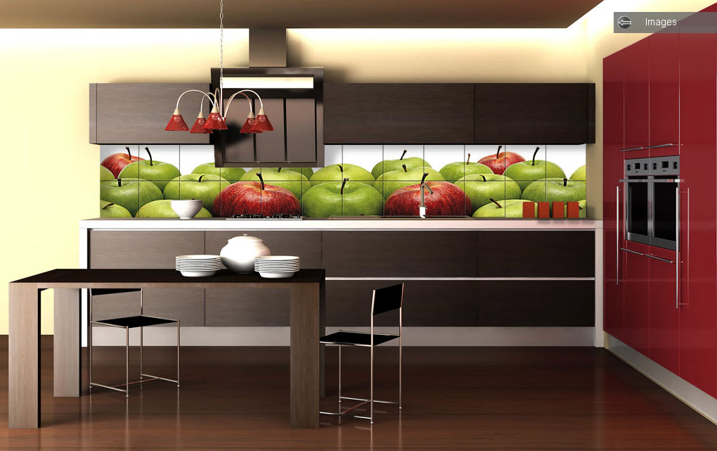 Kitchen Tiles Apple Theme Design (Image 8 of 10)