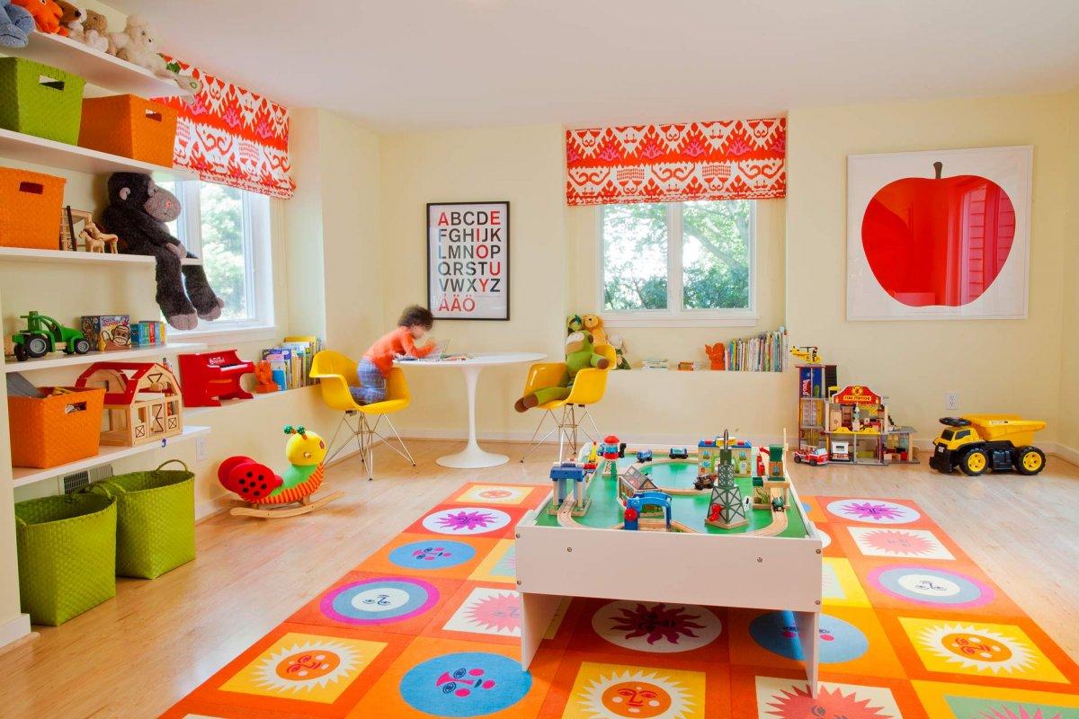 Light Orange Theme Kids Playroom Designs