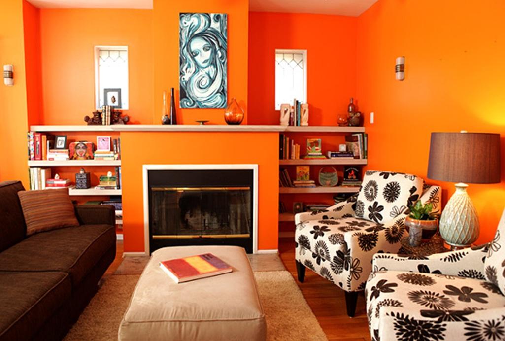 Living Area Energetic Orange Home Decor (View 8 of 10)