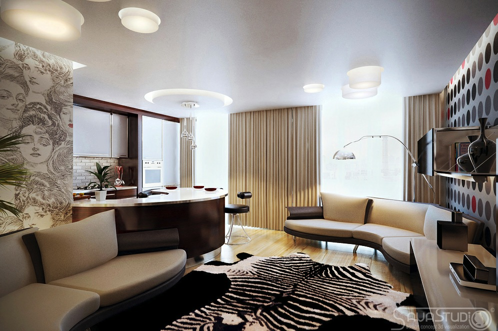 Living Room And Kitchen Rooms With A Feminine Touch (View 3 of 10)