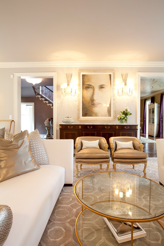 Luxury Formal Living Room with Beauty Lighting