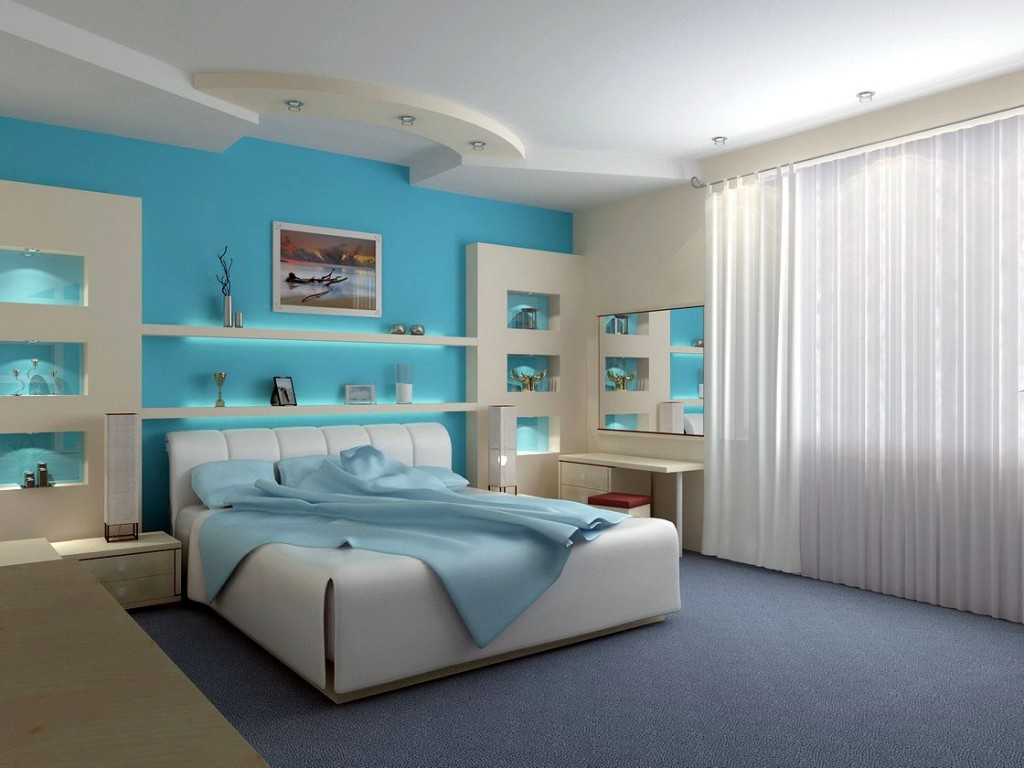Modern Wall With Blue Color Decorations (View 6 of 10)