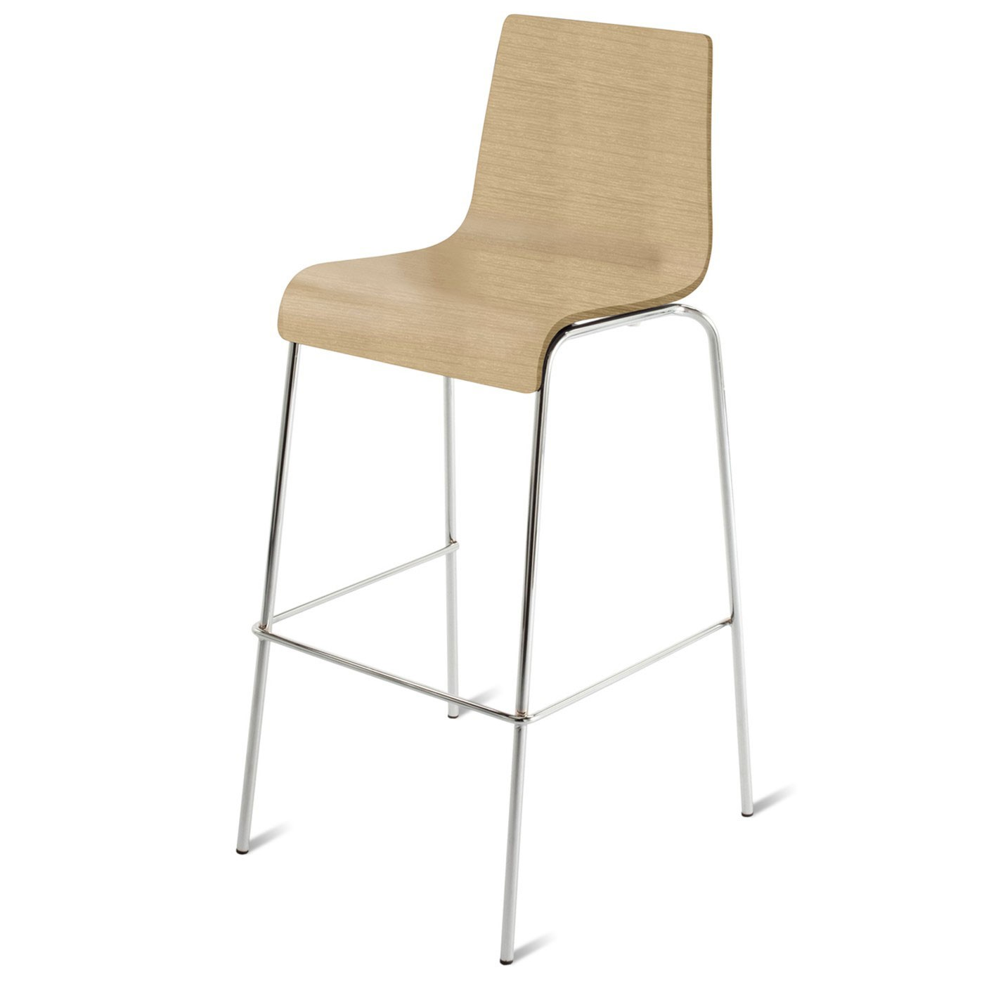 Modern White Oak Bar Height Bar Stool