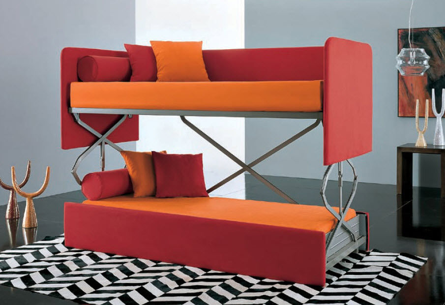 Orange And Red Unique Bunk Bed