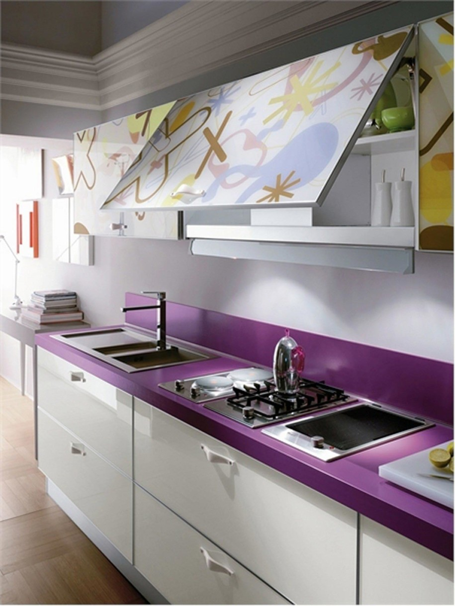 Purple Painting Kitchen Countertops Ideas