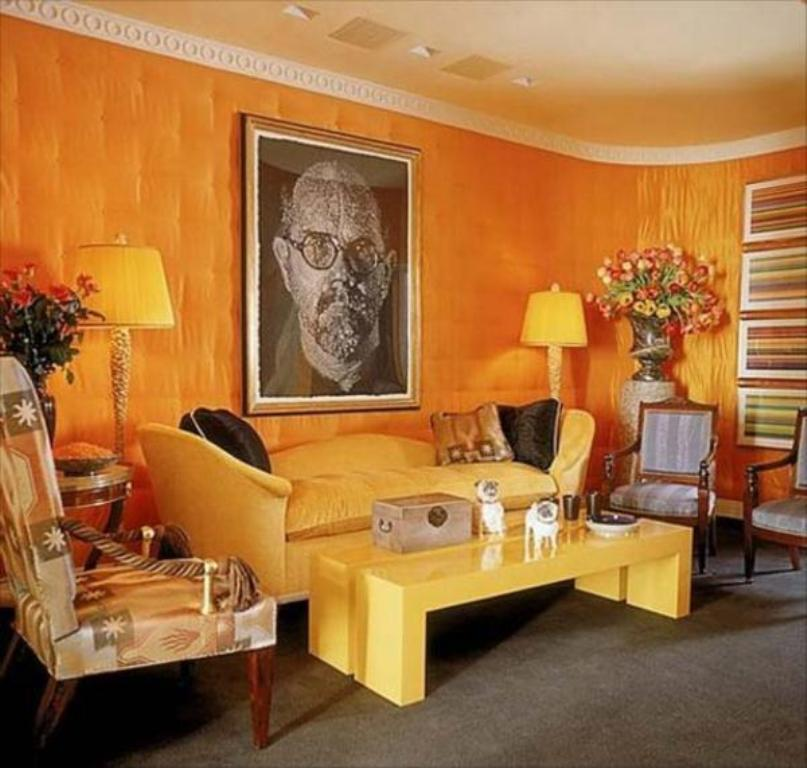 Quirky Living Area Energetic Orange Home Decor
