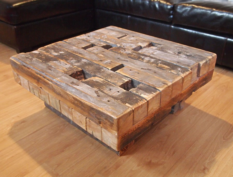 Reclaimed Wood Coffee Table (Image 5 of 10)