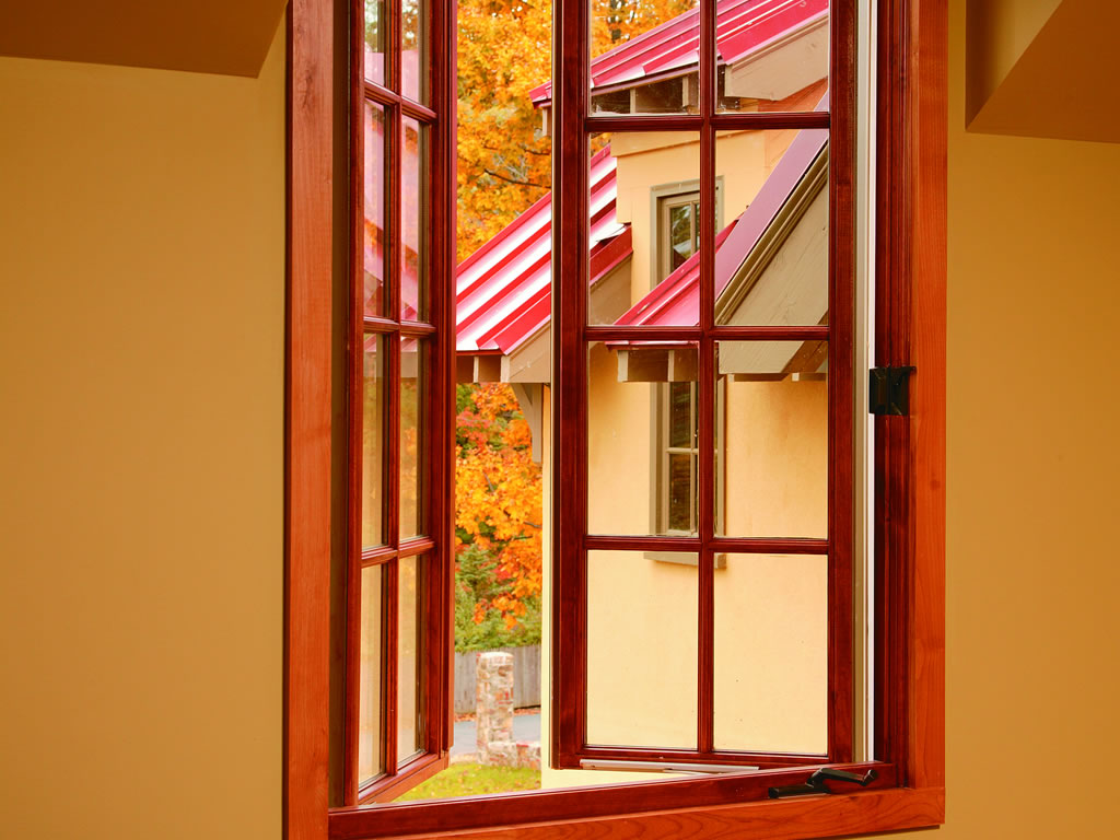 Red Wooden French Casement Windows