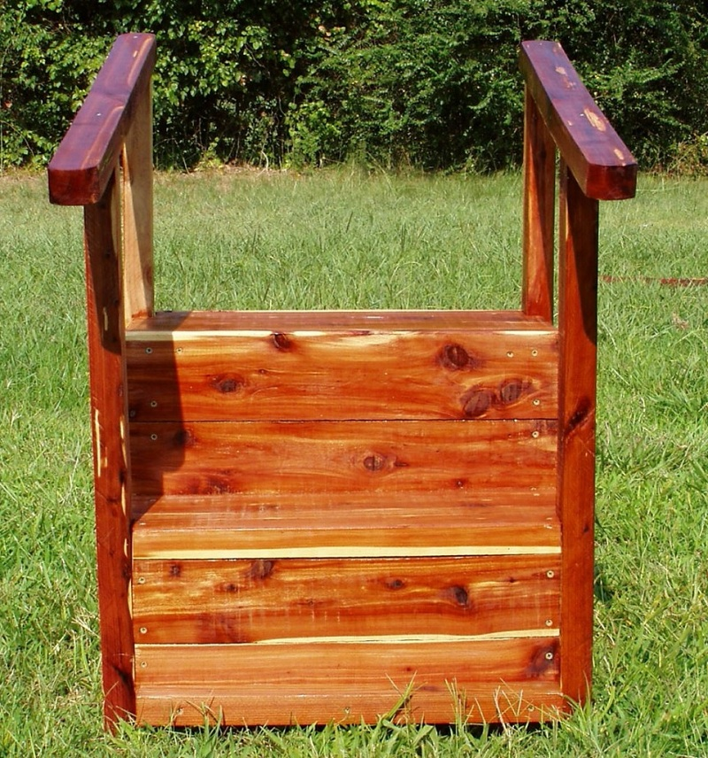 Red Wooden Mobile Home Stairs