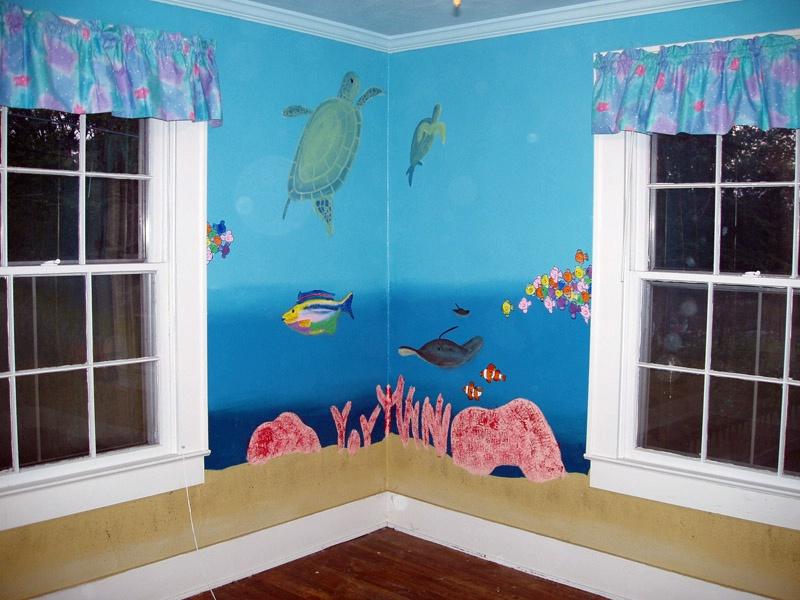 Retro Wall Bedroom Interior With Ocean Designs (View 7 of 10)