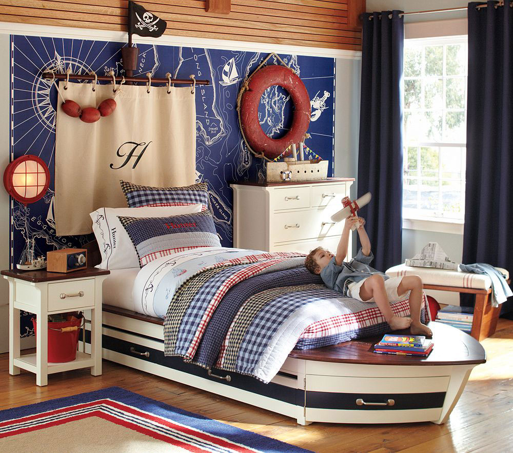 Sailor Ship Bedroom Interior With Ocean