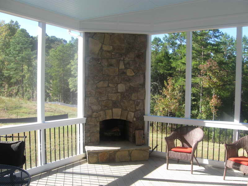Screen Porch Plans with Wood Burning Stone Fireplace