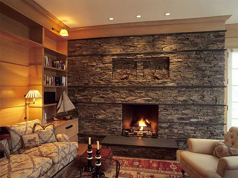 Stacked Stone Fireplace (Image 8 of 10)