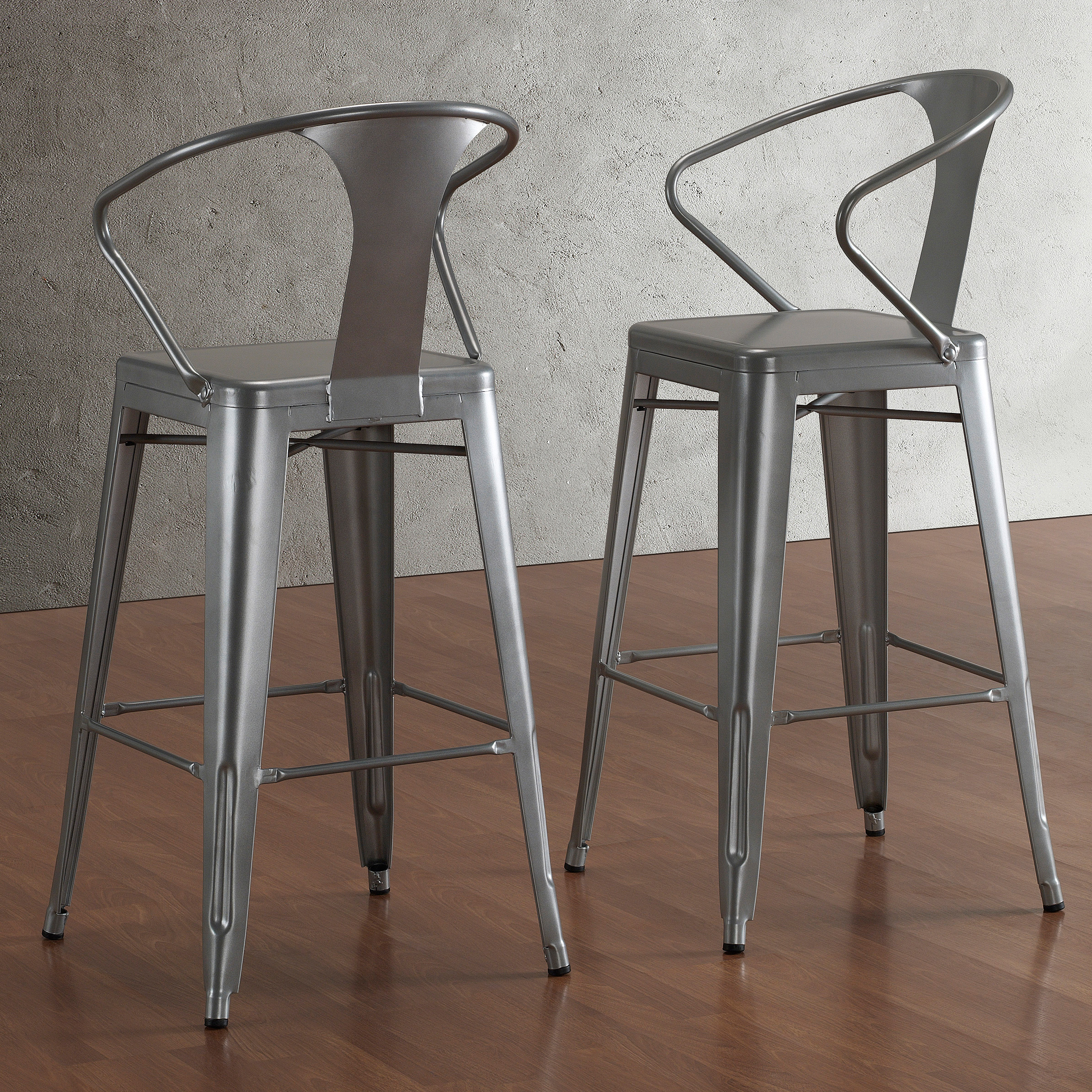 Tabouret Silver With Back (Image 6 of 10)