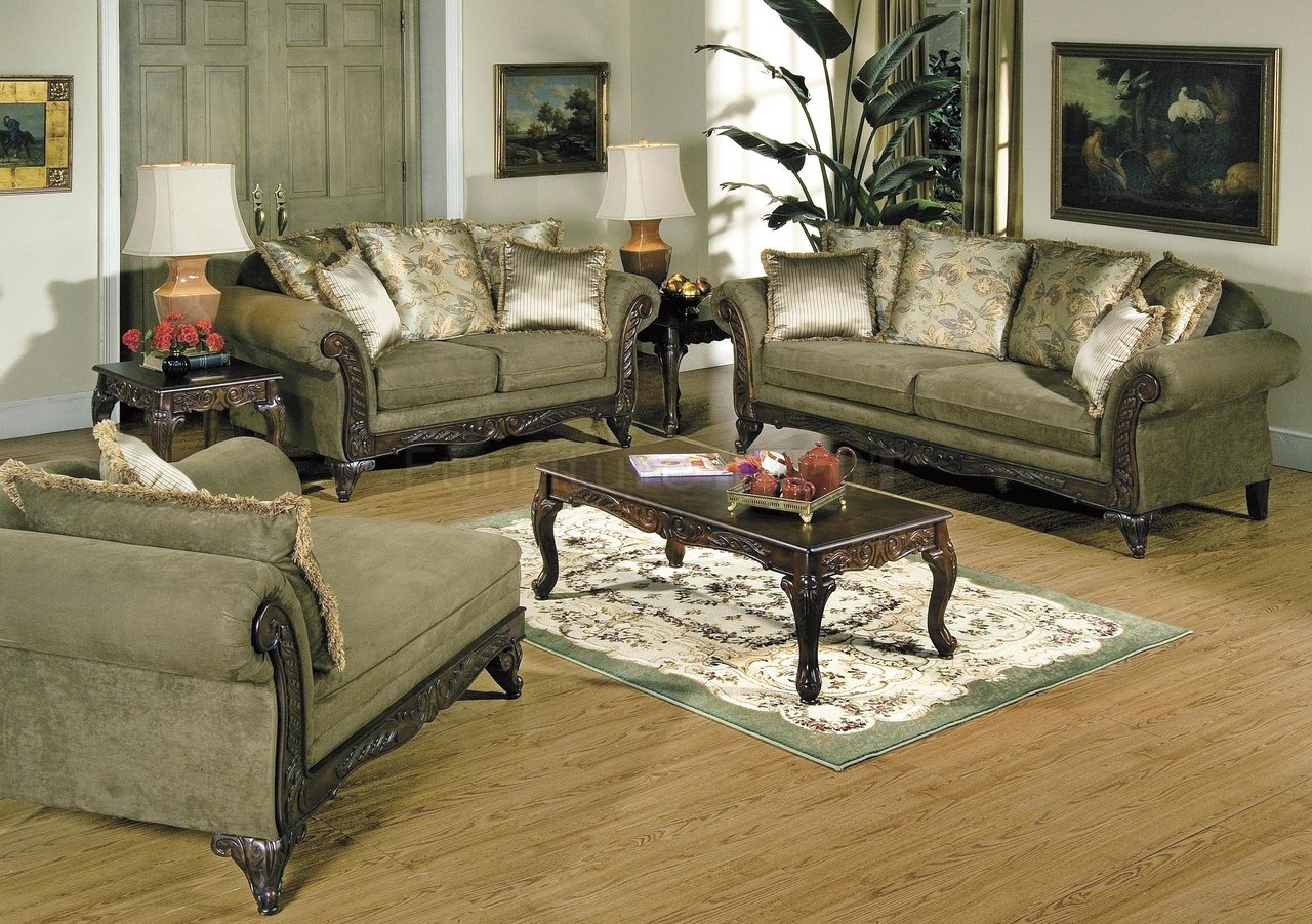 Traditional Green Classic Sofas Furniture For Living Room Image 10 Of 10