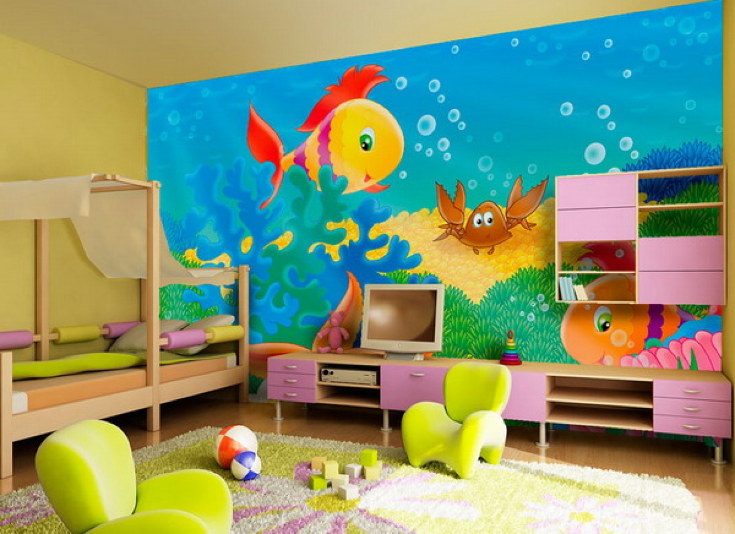 Under Water Theme Playful Paint Colors for Small Bedrooms
