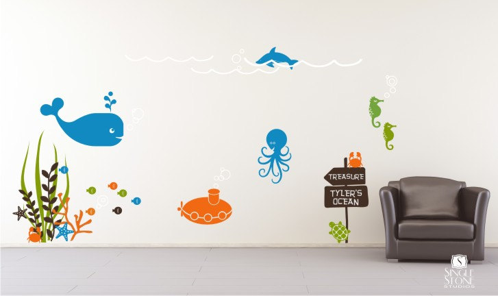 Wallpaper Underwater Bedroom Interior With Ocean Designs (Image 10 of 10)