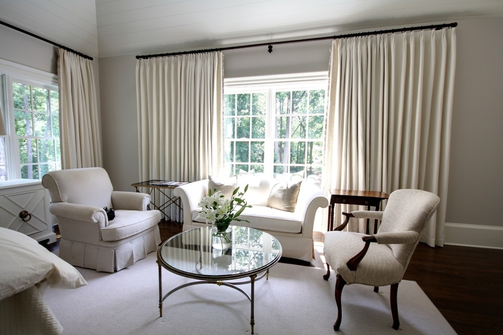 White Living Room Curtains For Triple Windows