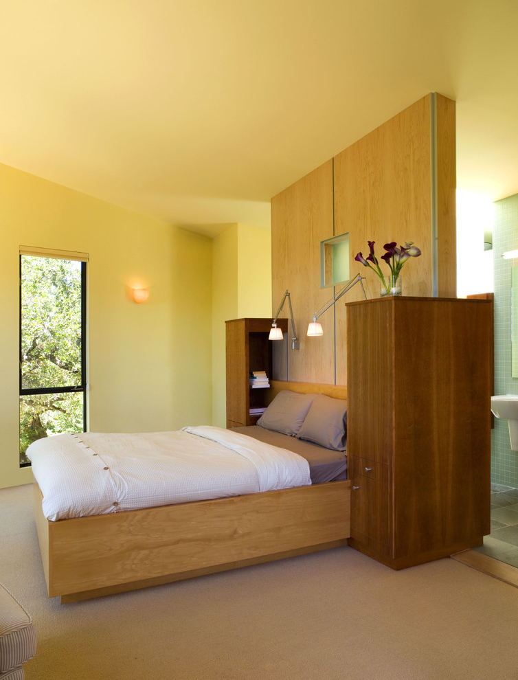 Wooden Bedroom Interior With Bathroom
