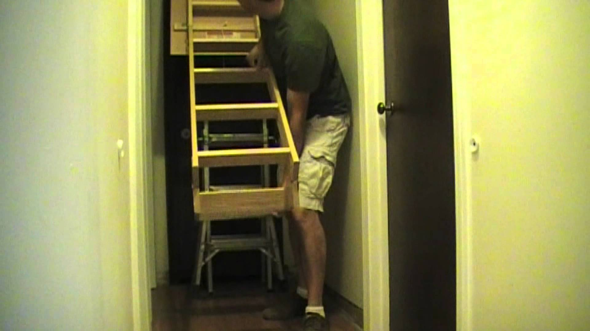 Wooden Installation Of Pull Down Stairs (View 10 of 10)