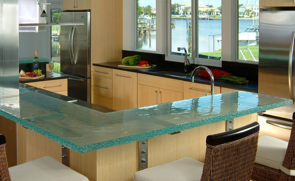 Wooden and Glass Painting Kitchen Countertops Ideas